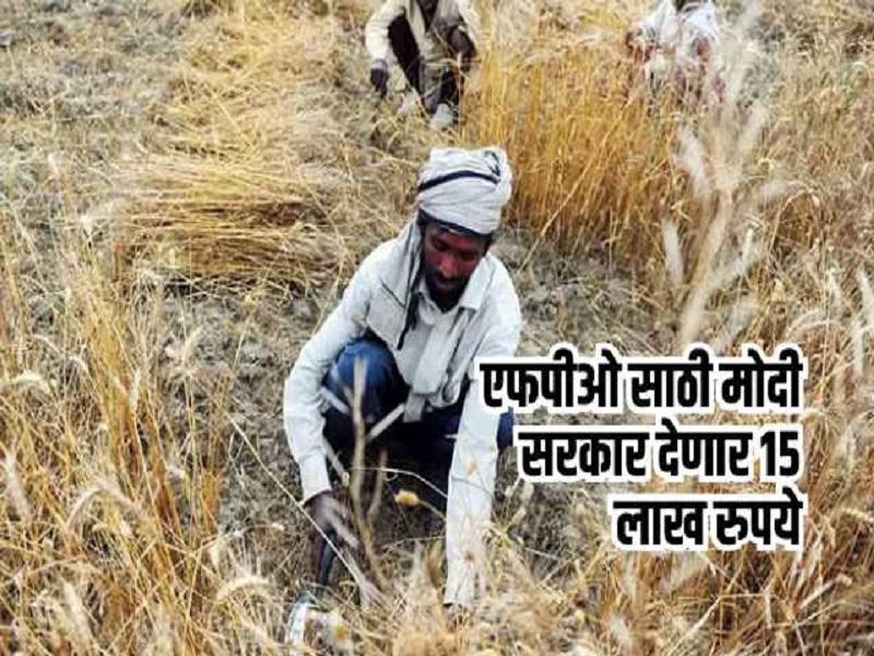 पीएम किसान एफपीओ योजना ;  सरकार  ११ शेतकऱ्यांना देणार १५ लाख रुपये
